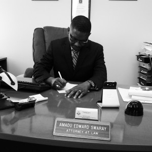 Attorney Swaray at work